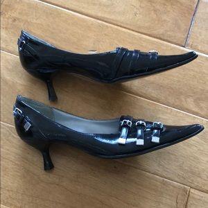 Goth Black Patent Point Toe Kitten Heels size 7